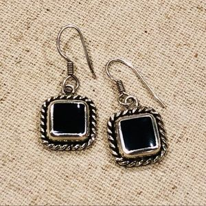 Sterling Silver & Black Earrings